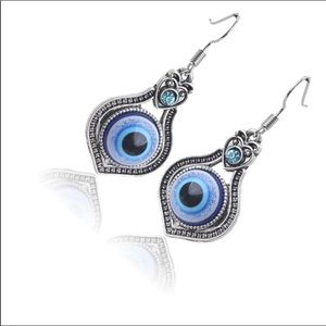 Evil Eye Silver Tone Drop Dangle Earrings Boho